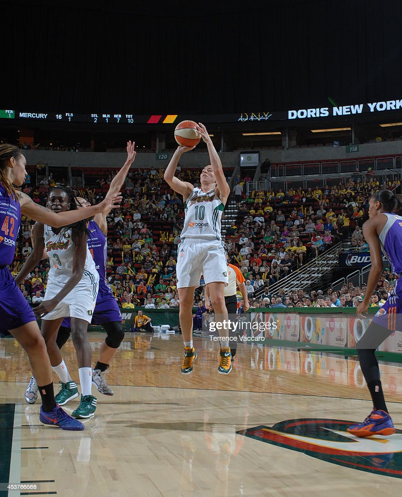 Sue Bird #10 of the Seattle Storm shoots against the Phoenix Mercury during the game on August 17, 2014 at Key Arena in Seattle, Washington.