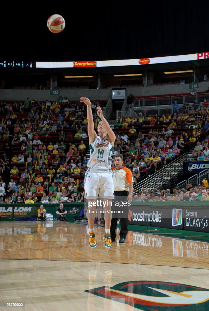 Sue Bird #10 of the Seattle Storm shoots the ball against the Phoenix Mercury during the game on August 17, 2014 at Key Arena in Seattle, Washington.