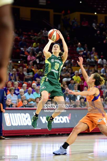 Sue Bird of the Seattle Storm shoots the ball during the game against the Phoenix Mercury in Round One of the 2017 WNBA Playoffs on September 6 2017...