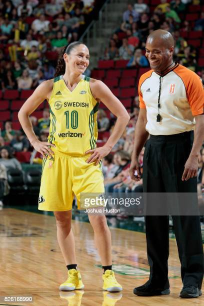 Sue Bird of the Seattle Storm talks with referee Byron Jarrett during the game against the Dallas Wings during a WNBA game on July 28 2017 at Key...