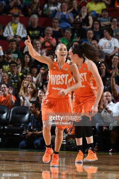 Sue Bird of the Western Conference AllStars celebrates during the game against the Eastern Conference AllStars during the Verizon WNBA AllStar Game...