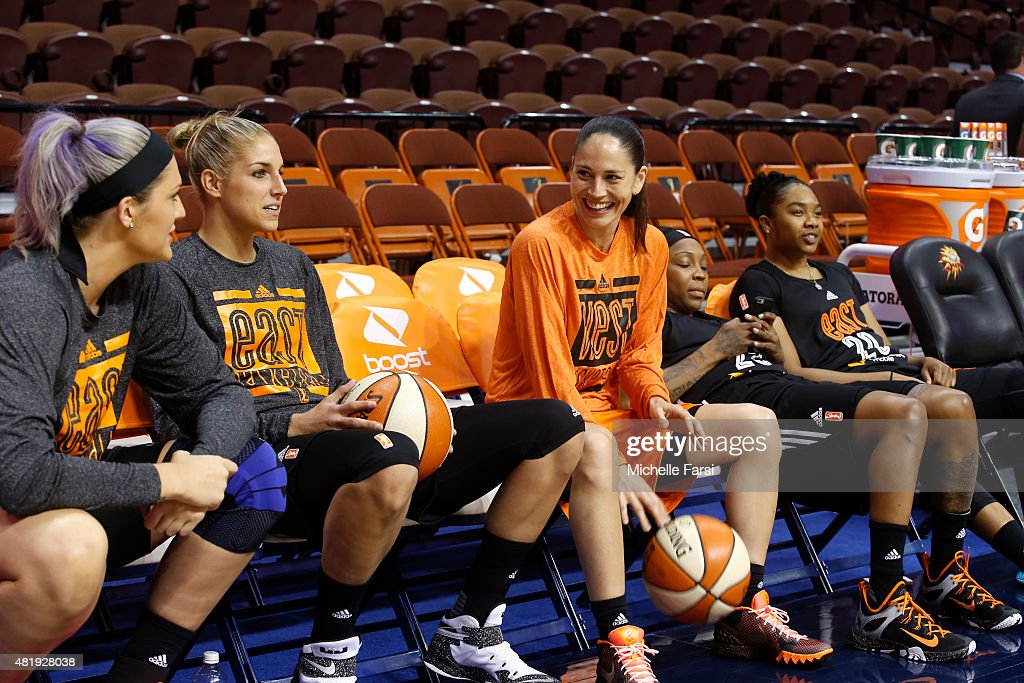 <a gi-track='captionPersonalityLinkClicked' href=/galleries/search?phrase=Sue+Bird&family=editorial&specificpeople=201535 ng-click='$event.stopPropagation()'>Sue Bird</a> #10 of the Western Conference All-Stars smiles on the bench with <a gi-track='captionPersonalityLinkClicked' href=/galleries/search?phrase=Stefanie+Dolson&family=editorial&specificpeople=7369130 ng-click='$event.stopPropagation()'>Stefanie Dolson</a> #31 and <a gi-track='captionPersonalityLinkClicked' href=/galleries/search?phrase=Elena+Delle+Donne&family=editorial&specificpeople=5042380 ng-click='$event.stopPropagation()'>Elena Delle Donne</a> #11 of the Eastern Conference All-Stars prior to the he Boost Mobile WNBA All-Star 2015 Game at the Mohegan Sun Arena on July 25, 2015 in Uncasville, Connecticut.