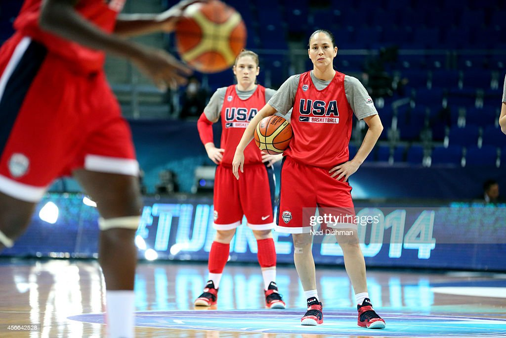 <a gi-track='captionPersonalityLinkClicked' href=/galleries/search?phrase=Sue+Bird&family=editorial&specificpeople=201535 ng-click='$event.stopPropagation()'>Sue Bird</a> #6 of the Women's Senior U.S. National Team looks on during a team practice before the semifinals of the 2014 FIBA World Championships on October 4, 2014 in Istanbul, Turkey.