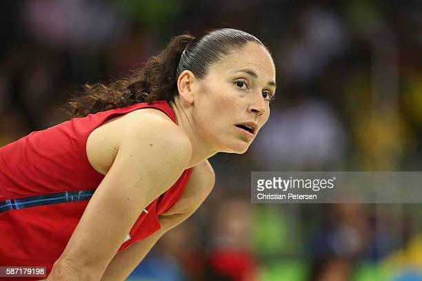 Sue Bird of United States on the court during the women's basketball game against Spain on Day 3 of the Rio 2016 Olympic Games at the Youth Arena on...