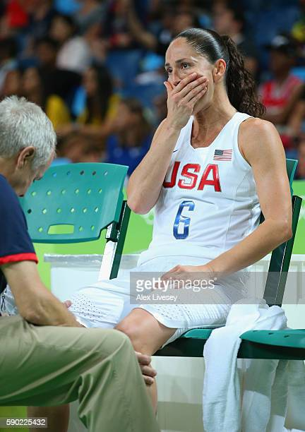 Sue Bird of United States reacts to an injury during the Women's Quarterfinal match against Japan on Day 11 of the Rio 2016 Olympic Games at Carioca...