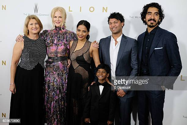 Sue Brierley Nicole Kidman Priyanka Bose Sunny Pawar Saroo Brierley and Dev Patel attend the 'Lion' premiere at Museum of Modern Art on November 16...