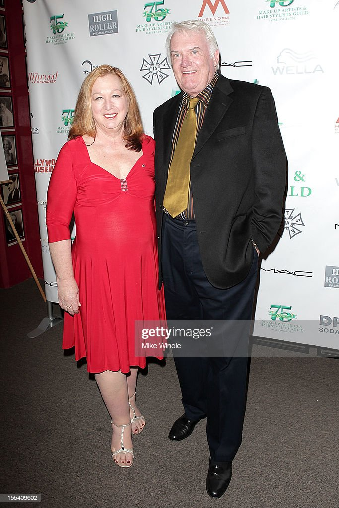Sue Cabral-Ebert (L) and Jeff Angell (R) arrive at The Make-Up Artists And Hair Stylists Guild 75th Anniversary Gala at The Hollywood Museum on November 3, 2012 in Hollywood, California.