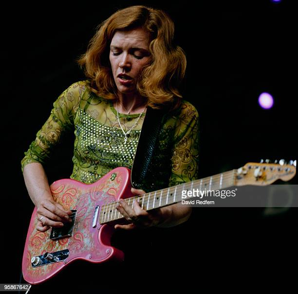 Sue Foley performs on stage at the Bishopstock Music Festival held in Devon England on August 27 2001