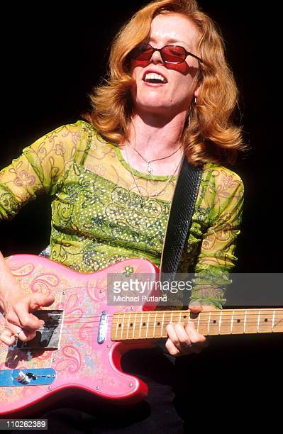 Sue Foley performs on stage Bishopstock Music Festival UK August 2001 She plays a Paisley Fender Telecaster guitar