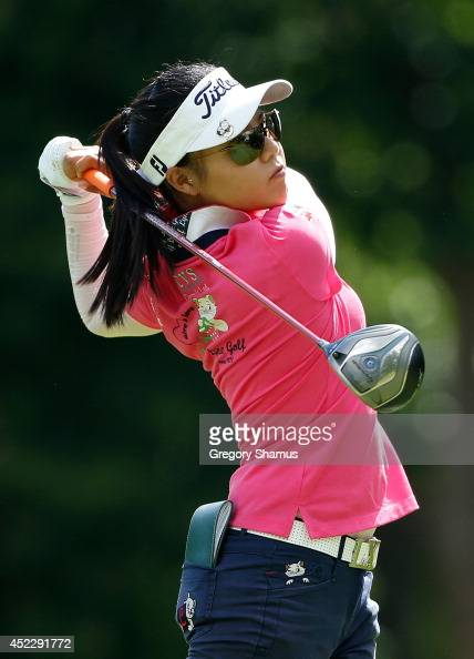 Sue Kim watches her tee shot on the seventh hole during the first round of the Marathon Classic presented by Owens Corning and OI at Highland Meadows...