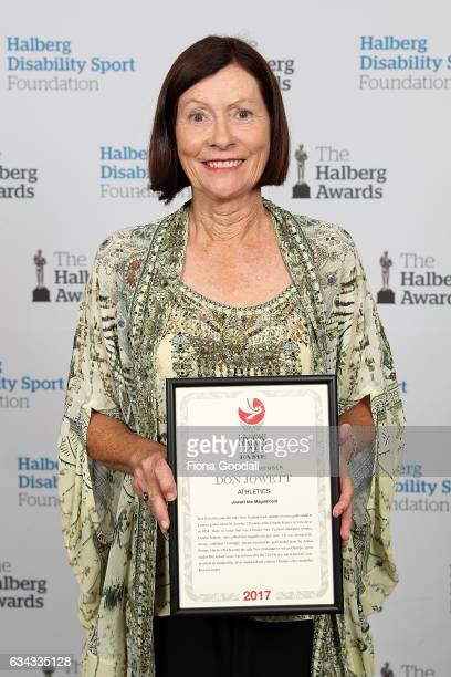Sue Pavish daughter of Lifetime Achievement Award recipient Don Jowett for Athletics at the 54th Halberg Awards at Vector Arena on February 9 2017 in...
