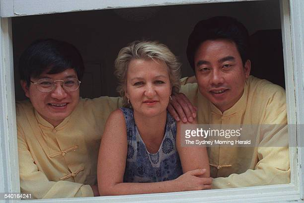 Sue PietersHawke with healers Robert Peng left and Zhao Shihua who are treating patients suffering from chronic fatigue syndrome 13 February 1998 SMH...