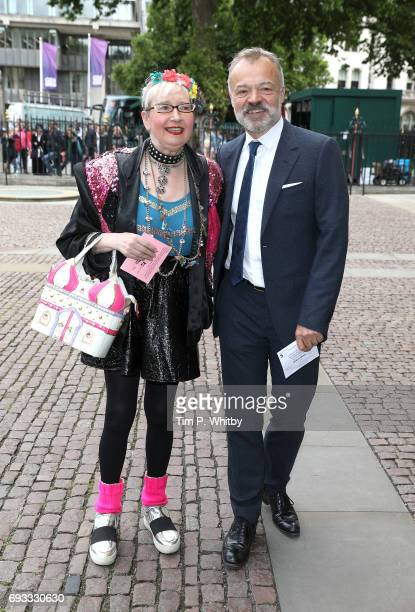 Sue Pollard and Graham Norton attend a memorial service for comedian Ronnie Corbett at Westminster Abbey on June 7 2017 in London England Corbett...