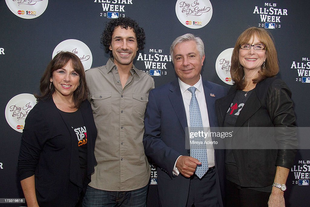 Sue Schwartz, <a gi-track='captionPersonalityLinkClicked' href=/galleries/search?phrase=Ethan+Zohn&family=editorial&specificpeople=215204 ng-click='$event.stopPropagation()'>Ethan Zohn</a>, Alfredo Gangotena and Rusty Robertson attend MLB Fan Cave 'Dig In And Do Good' Event at MLB Fan Cave on July 11, 2013 in New York City.