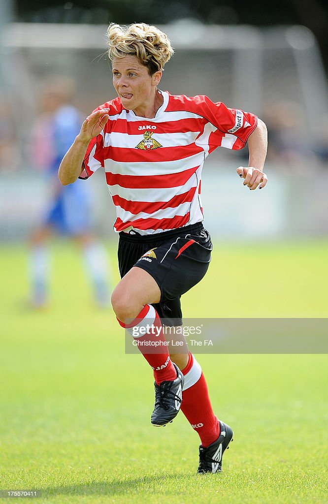 Sue Smith of Doncaster Rovers Belles during The FA Womens Super League match between Chelsea Ladies and Doncaster Rovers Belles Ladies at Wheatsheaf Park on August 4, 2013 in Staines, England.