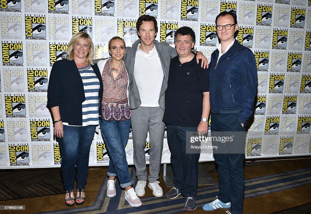 Sue Vertue, Amanda Abbington, Benedict Cumberbatch, Steven Moffat and Mark Gatiss attend the 'Sherlock' press line at Comic-Con International 2016 - Day 4 on July 24, 2016 in San Diego, California.