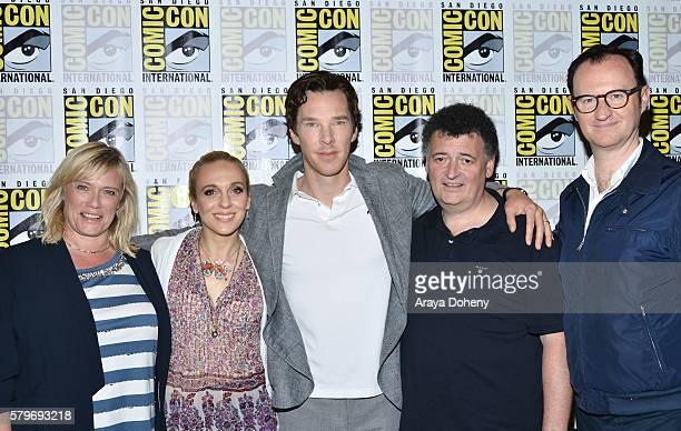 Sue Vertue Amanda Abbington Benedict Cumberbatch Steven Moffat and Mark Gatiss attend the 'Sherlock' press line at ComicCon International 2016 Day 4...