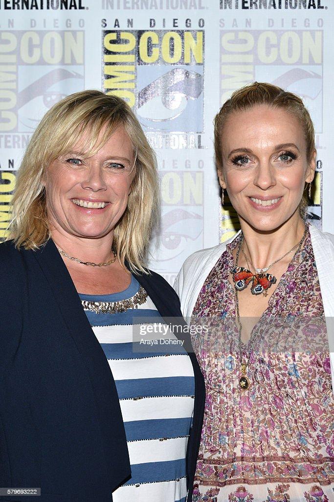 Sue Vertue and Amanda Abbington attend the 'Sherlock' press line at Comic-Con International 2016 - Day 4 on July 24, 2016 in San Diego, California.