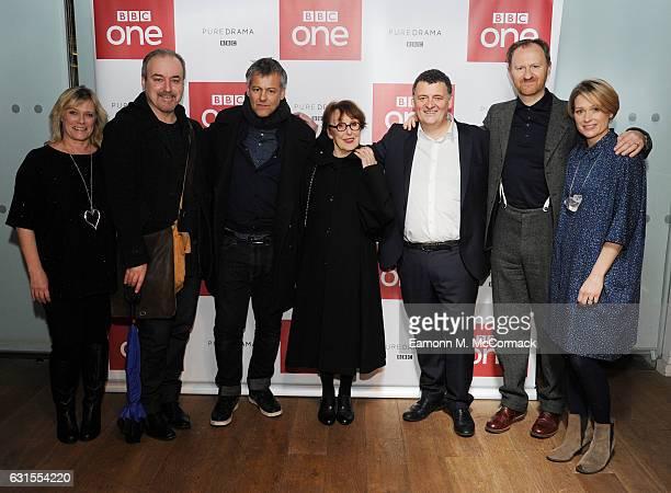 Sue Vertue David Arnold Rupert Graves Una Stubbs Steven Moffat Mark Gatiss and Sian Brooke attend episode three preview screening of 'Sherlock' at...