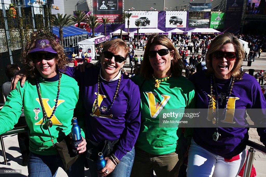 Sue Weber, Tracy Heaberlin, Jan Levy and Danielle Gallagher, fans of the Baltimore Ravens, show support for their team outside the stadium prior to Super Bowl XLVII against the San Francisco 49ers at the Mercedes-Benz Superdome on February 3, 2013 in New Orleans, Louisiana.