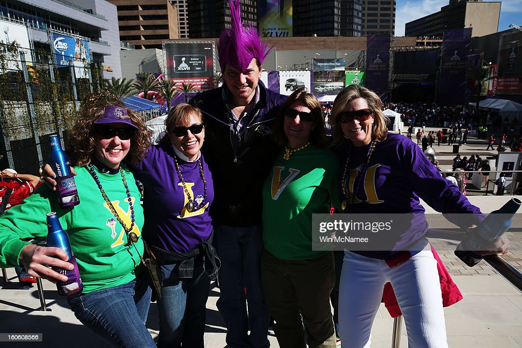 Sue Weber, Tracy Heaberlin, Philip Luelsdorf, Jan Levy and Danielle Gallagher, fans of the Baltimore Ravens, show support for their team outside the stadium prior to Super Bowl XLVII against the San Francisco 49ers at the Mercedes-Benz Superdome on February 3, 2013 in New Orleans, Louisiana.