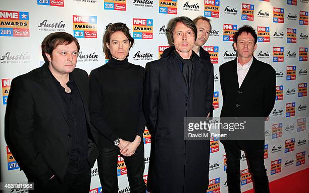 Suede arrives at the NME Awards at Brixton Academy on February 18 2015 in London England