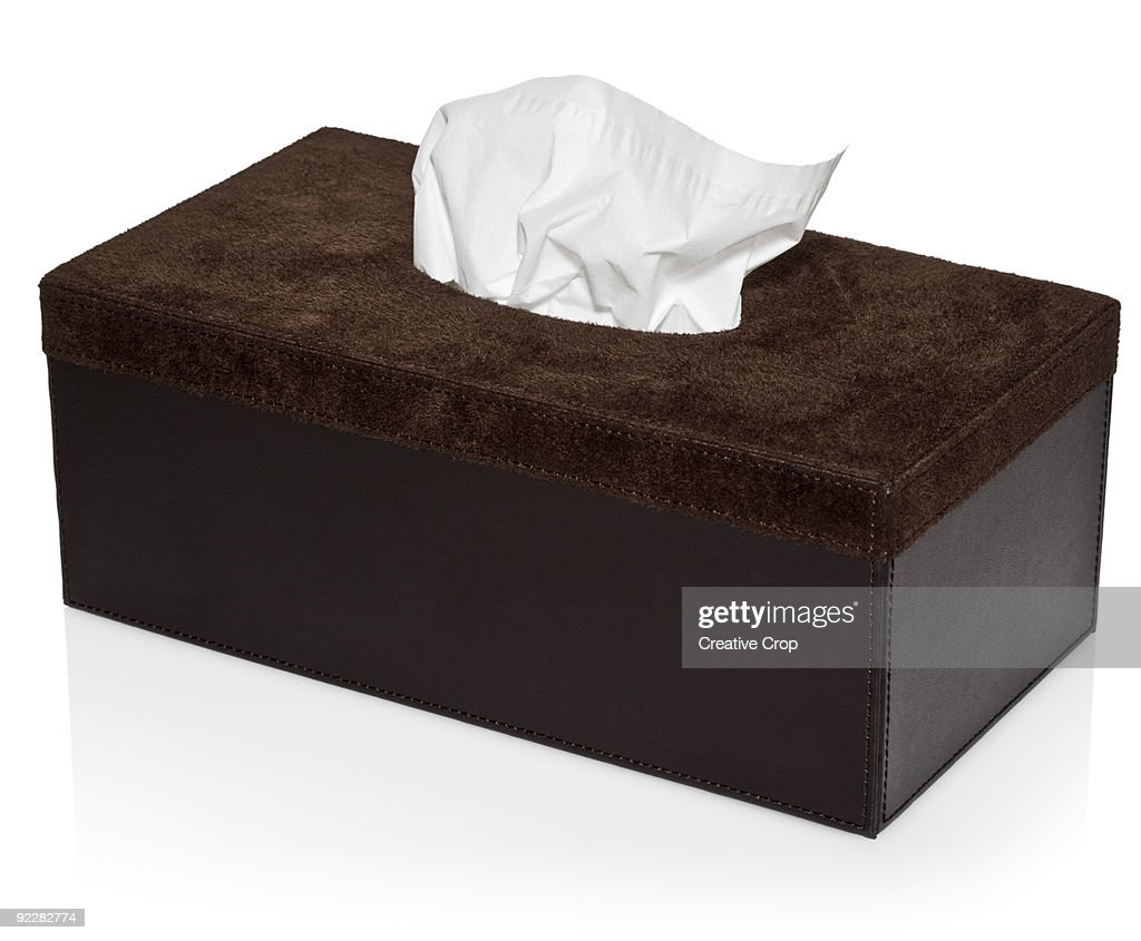 Suede box with paper handkerchief / tissues : Stock Photo