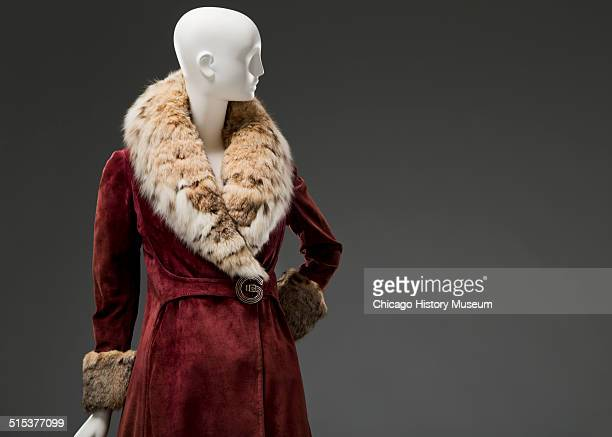 Suede coat designed by Gucci with lynx shawl collar cuff and hem 1977 Shown as part of the Chicago History Muesum's November 2014 'Chicago Styled'...