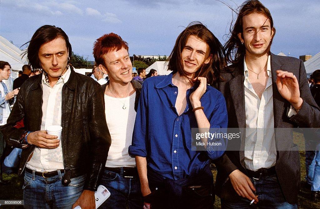 Suede group portrait backstage at Reading Festival 29th August 1992 LR Brett Anderson Simon Gilbert Bernard Butler Mat Osman