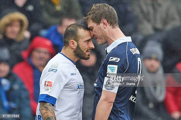 Sueleyman Koc of Paderborn and Fabian Klos of Bielefeld argue during the Second Bundesliga match between Arminia Bielefeld and SC Paderborn at...