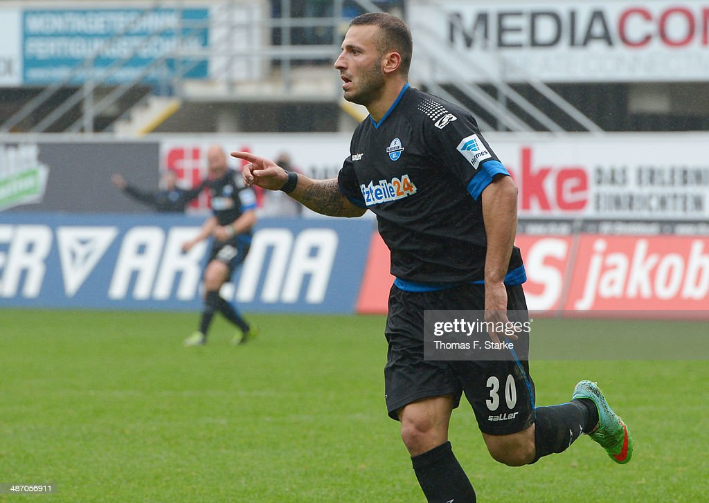 Sueleyman Koc of Paderborn celebrates scoring his teams first goal during the Second Bundesliga match between SC Paderborn and SV Sandhausen at Benteler Arena on April 27, 2014 in Paderborn, Germany.