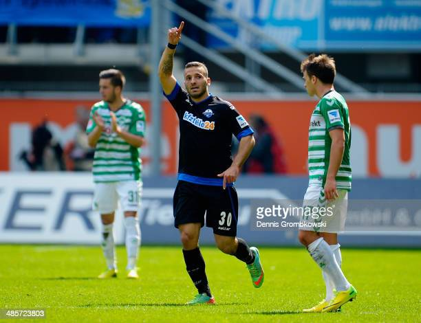 Sueleyman Koc of SC Paderborn celebrates after scoring his team's first goal during the Second Bundesliga match between SC Paderborn and Greuther...