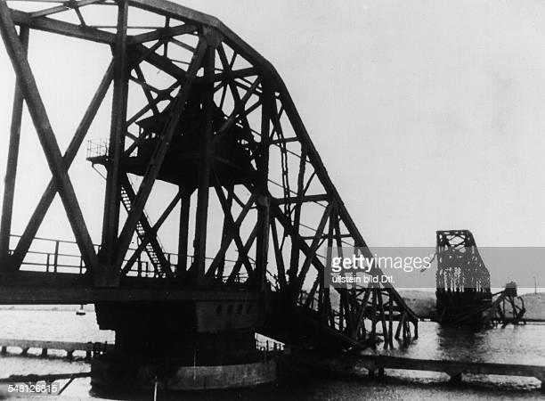 Suez Crisis Anglo French intervention in the Suez area The Ferdan bridge over the Suez Canal south of Port Said that was blasted by the Egyptians