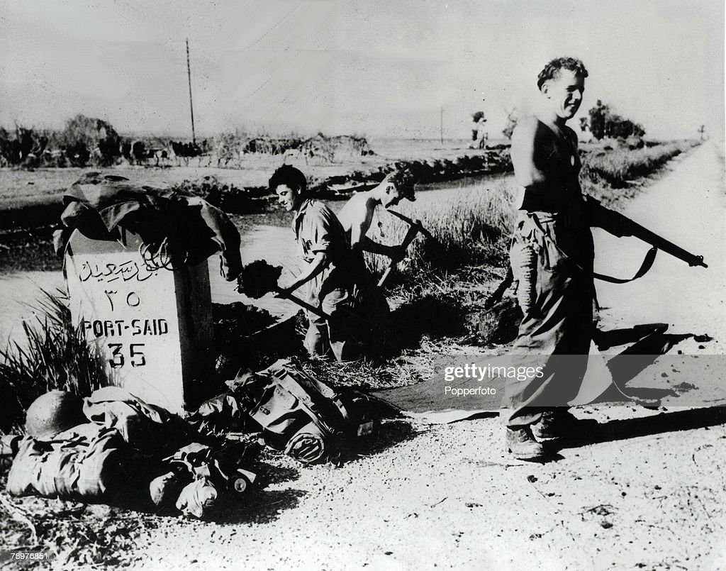 Suez Crisis Egypt 12th November 1956 British soldiers hold the road to Port Said at El Cap station