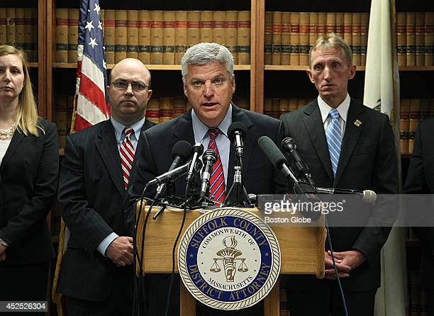 Suffolk County DA Daniel F Conley delivered remarks on the indictment of Aaron Hernandez on two counts of first degree murder and other offenses In...