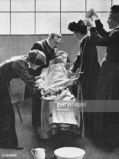 Forcible feeding through the nose of English women suffragist prisoners pronounced as dangerous by many leading members of the medical profession...