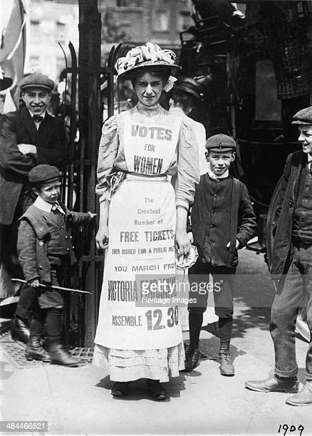 Suffragette advertising a march supporting votes for women Strand London c1909 The march was to start at the Victoria Embankment followed by a public...