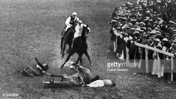 Suffragette Emily Davison is hit and killed by King George V's horse Anmer during the 1913 Epsom Derby She fell underneath the galloping horse after...