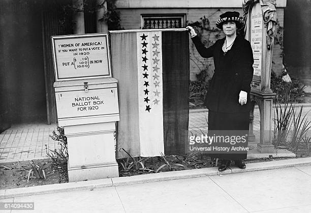 Suffragette Protesting 'Women of America If you want to put a vote in in 1920 put a in Now National Ballot Box for 1920' USA circa 1920