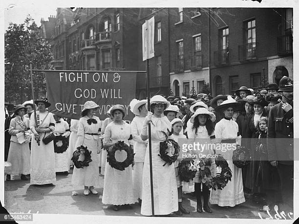 Suffragettes form a part of Emily Davison's funeral procession through London She was a fellow campaigner who was trampled to death when as a protest...