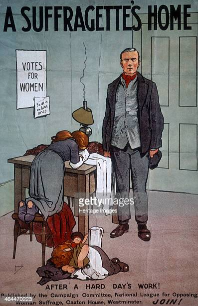 'A Suffragette's Home' early 20th century A man arrives home 'after a hard day's work' to find his children alone and sobbing The lamp has run out of...