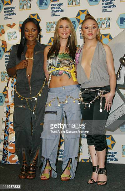 Sugababes during 2002 MTV European Music Awards Press Room at Palau Sant Jordi in Barcelona Spain