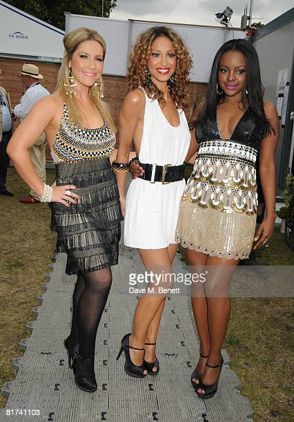 Sugababes Heidi Range Amelle Berrabah and Keisha Buchanan pose backstage during the 46664 Concert In Celebration Of Nelson Mandela's Life held at...