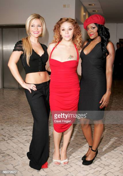 Sugababes Heidi Range Mutya Buena and Keisha Buchanan arrive at the 12th annual MTV Europe Music Awards 2005 at the Atlantic Pavilion on November 3...