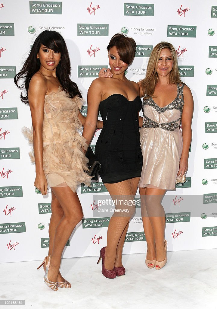 Sugababes (L-R) Jade Ewen, Amelle Berrabah and Heidi Range arrive at the Pre-Wimbledon Party at The Roof Gardens, Kensington on June 17, 2010 in London, England.