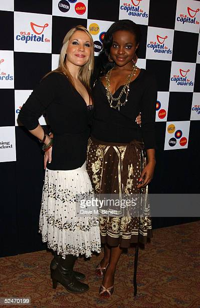 Sugababes members Heidi Range and Keisha Buchanan pose in the Awards Room at the Capital FM Awards 2005 at the Royal Lancaster Hotel on March 23 2005...