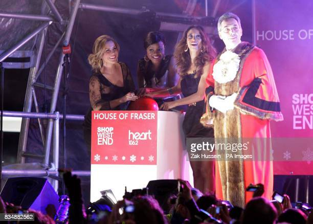 Sugababes switch on the Oxford Street Christmas Lights outside House of Fraser Oxford Street central London