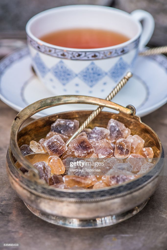 Sugar and tea : Stock Photo