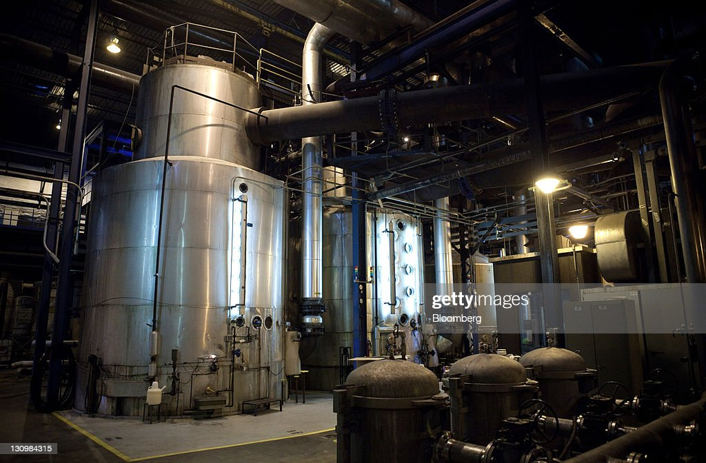 Sugar beets are heated in large tanks during the process that turns them into molasses and white crystalized sugar at the Michigan Sugar Co. plant in Bay City, Michigan, U.S., on Monday, Oct. 24, 2011. U.S. sugar supplies this year will fall to the lowest since record-keeping began in 1960 as consumption rises and a smaller beet crop limits supplies left from last season, according to a U.S. Department of Agriculture report released earlier this month. Photographer: Adam Bird/Bloomberg via Getty Images