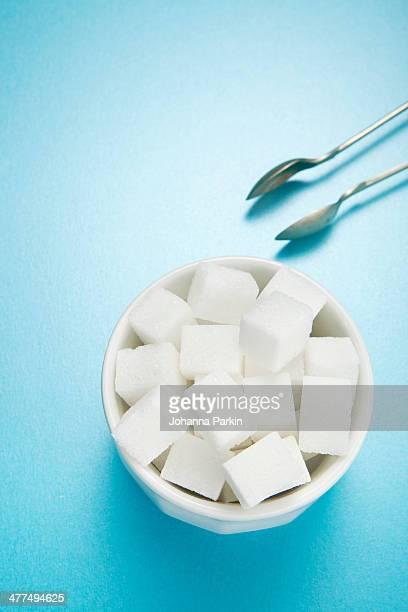 Sugar bowl of sugar-cubes